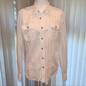 CK white denim button up front and sleeves sz Med